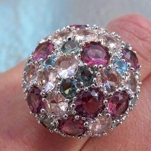 Jewelry - Big Jeweled Pink Purple Blue Cocktail Ring Size 7